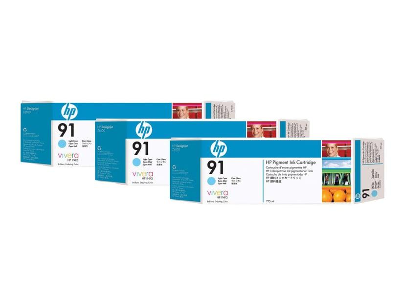 HP Muste Kevyt Syaani No.91 - Z6100 775ml 3-PACK
