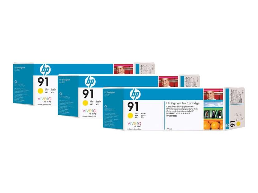 HP Muste Keltainen No.91 - Z6100 775ml 3-PACK