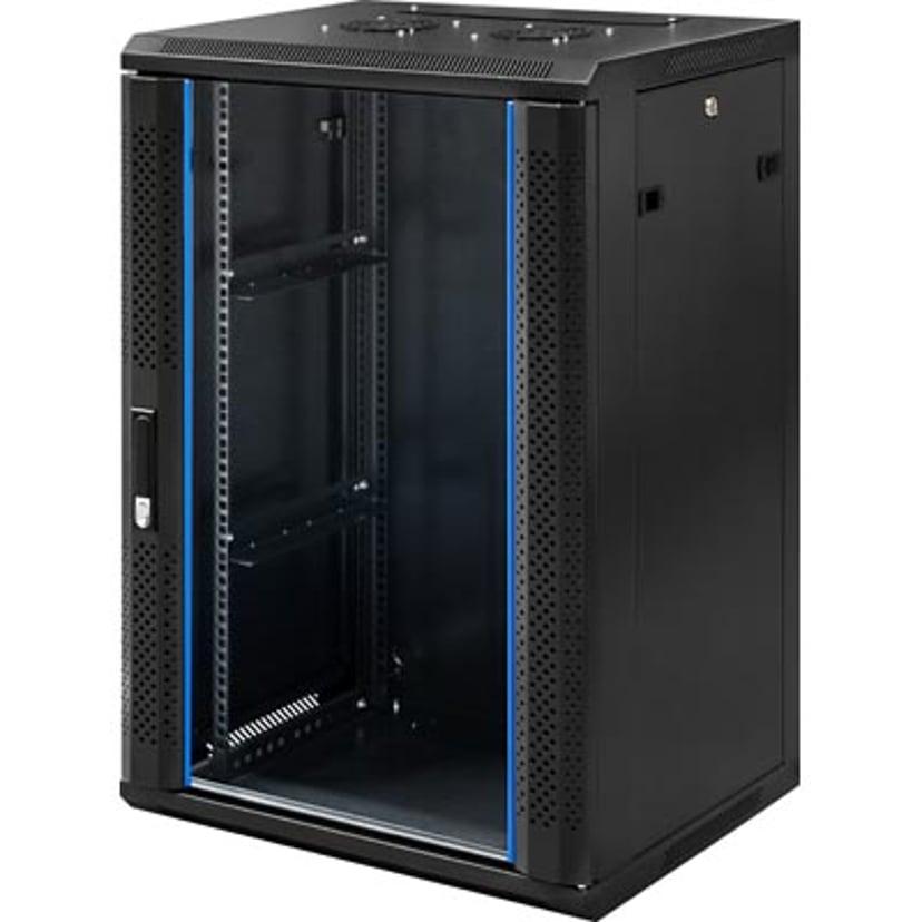 """Toten 19"""" Wall Cabinet 18U 600X450 Glassdoor Black"""