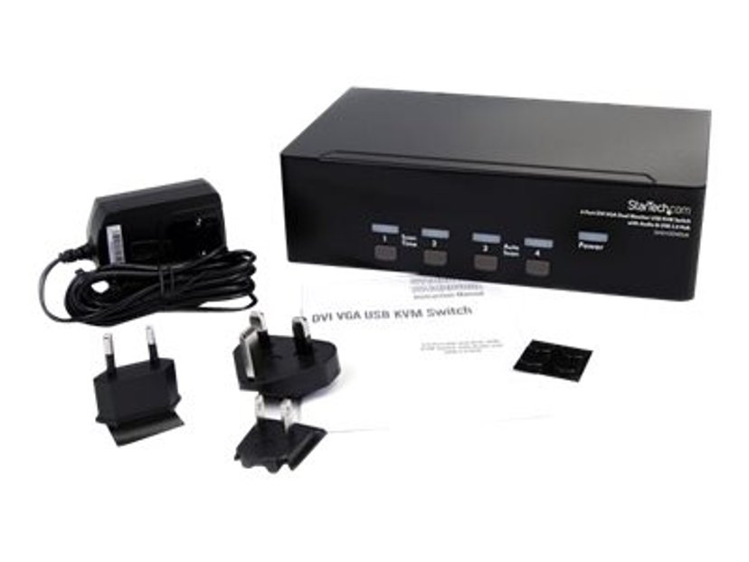 Startech StarView 4 Port DVI VGA Dual Monitor KVM Switch USB with Audio & USB 2.0 Hub