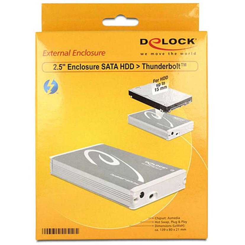"""Delock 2.5? External Enclosure SATA HDD > Thunderbolt 2.5"""" Thunderbolt Silver"""