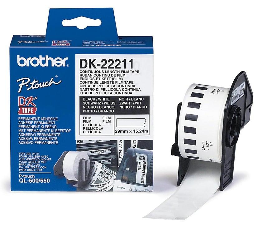 Brother Tape Plast 29mm x 15,24m Svart/Vit