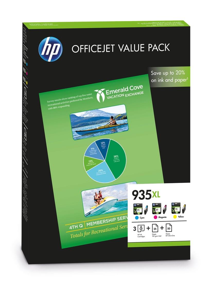 HP Bläck Kit (C/M/Y) No.935XL + PAPER 75-SHEET