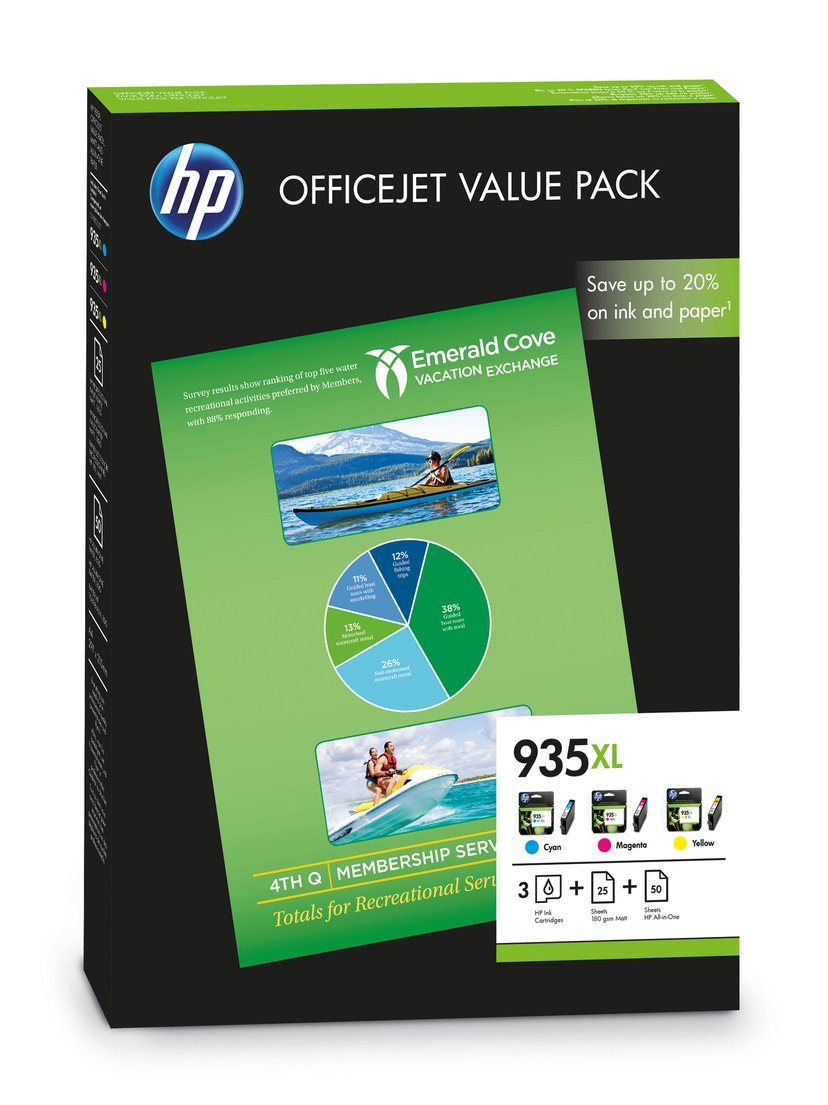 HP Blekk Kit (C/M/Y) No.935XL + PAPER 75-SHEET