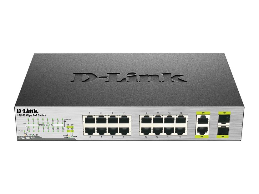 D-Link DES 1018MP 18-port Fast Ethernet PoE-switch (80W) Unmanaged Switch