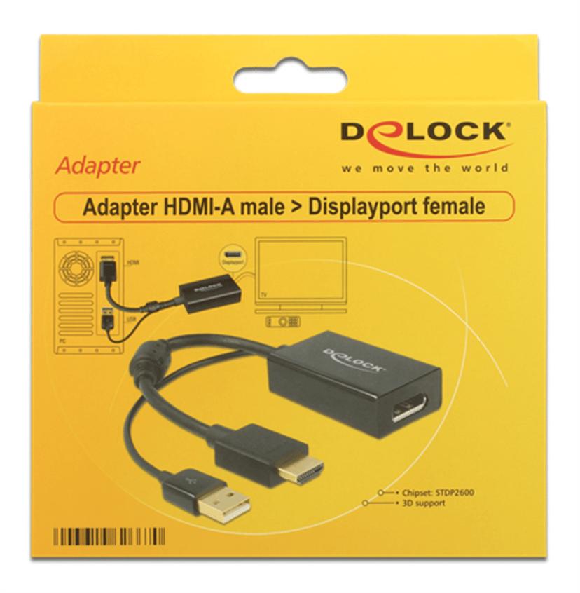 Delock Adapter HDMI, USB Hann DisplayPort Hunn Svart