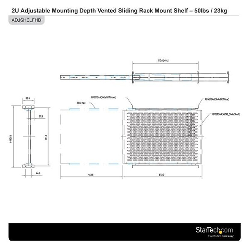 Startech Adjustable Server Rack Shelf