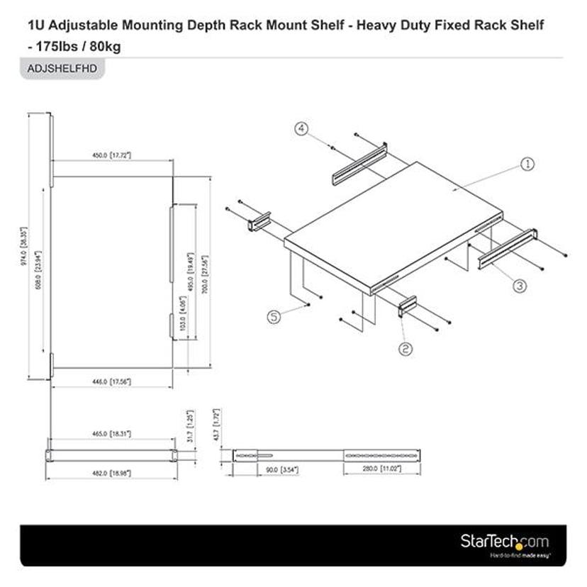 """Startech Adjustable Rack Mount Shelf 19"""" 79.6kg"""