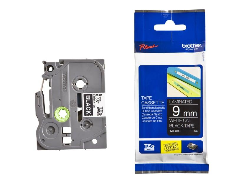 Brother Tape TZE-325 9mm Hvid/Sort