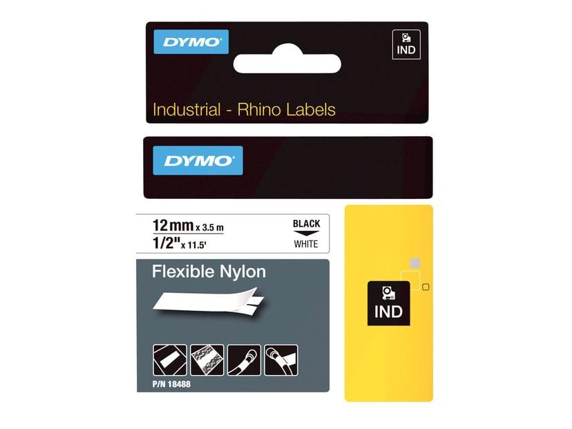 Dymo Tape RhinoPRO Flex Nylon 12mm Sort/Hvid