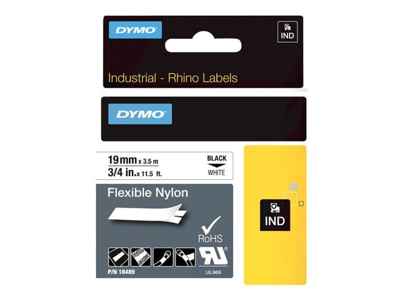 Dymo Tape RhinoPRO Flex Nylon 19mm Sort/Hvid