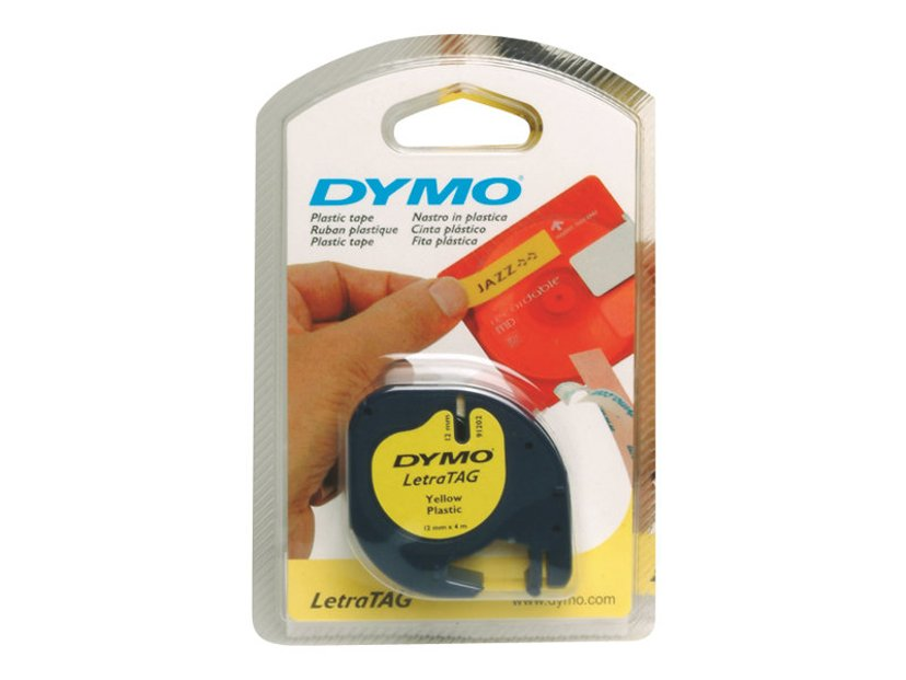 Dymo Tape LT 12mm Plast Gul