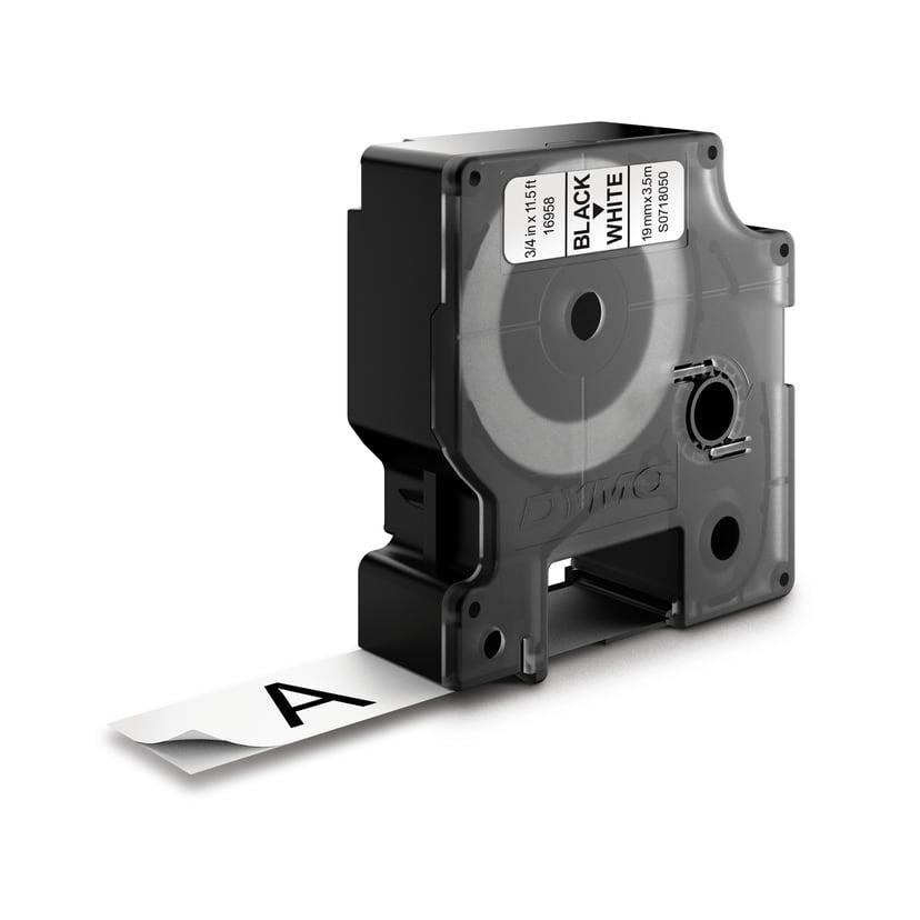 Dymo Tape D1 19mm Svart/Hvit Flexible