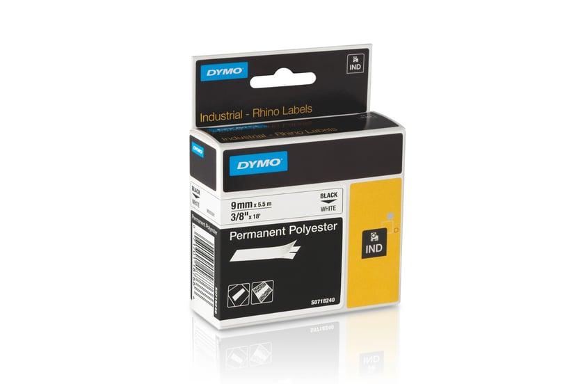 Dymo Tape RhinoPRO Perm Polyester 9mm Svart/Hvit