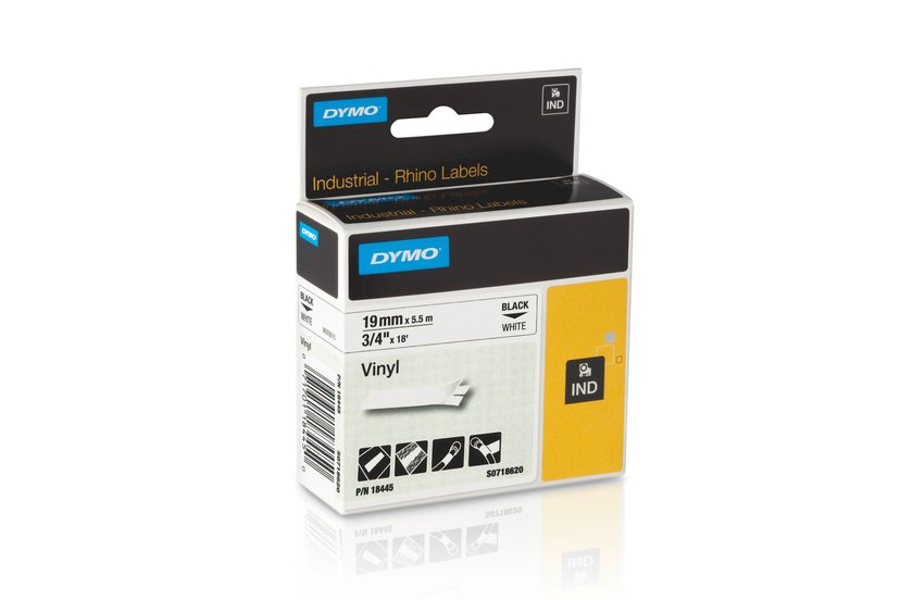Dymo Tape RhinoPRO Perm Vinyl 19mm Svart/Vit