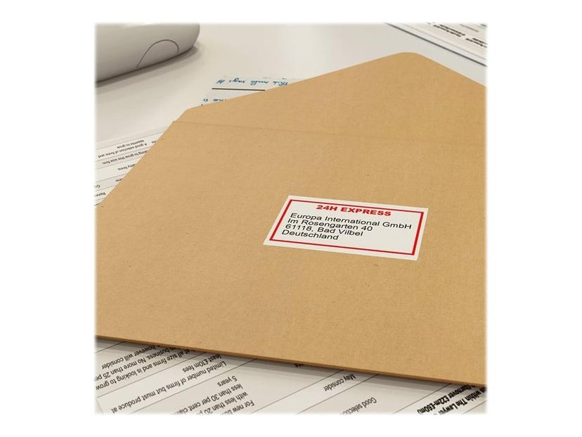Brother Tape 62mm Papper Löpande Vit Svart/Röd Text