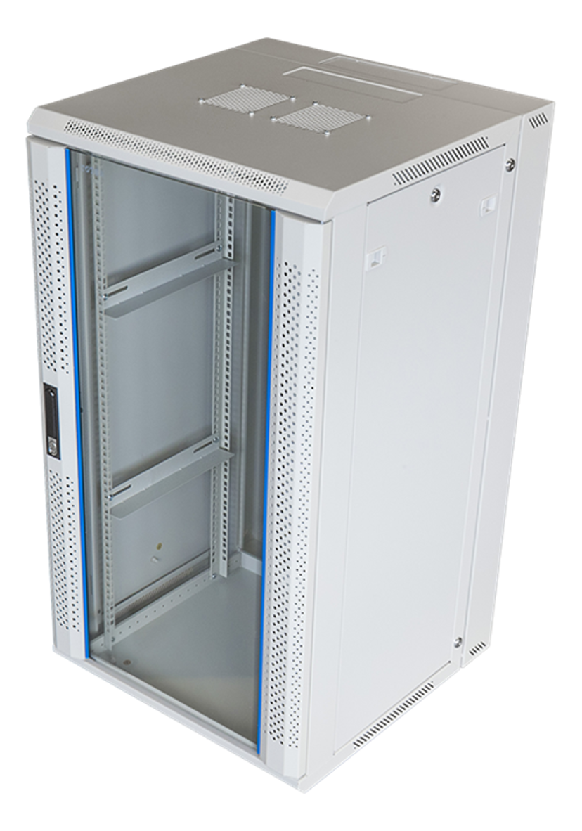 "Toten 19"" Wall Cabinett 22U 600X600 Lockable Glassdoor White"