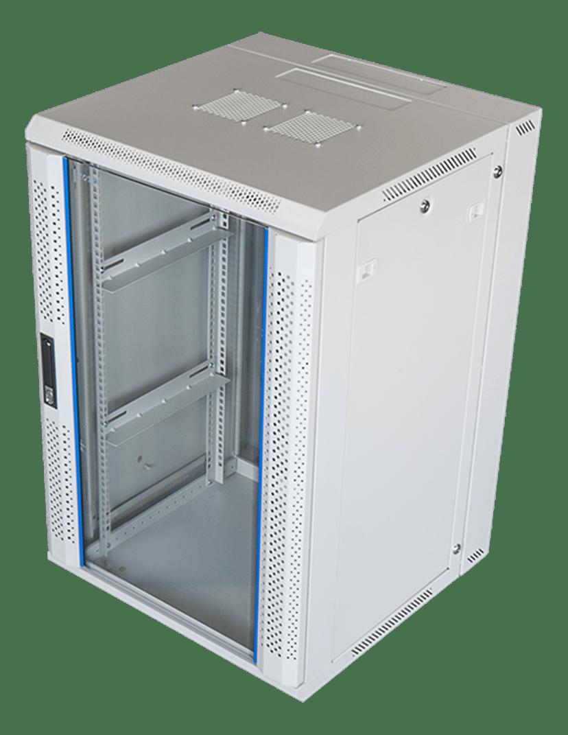 "Toten 19"" Wall Cabinett 18U 600X600 Lockable Glassdoor White"