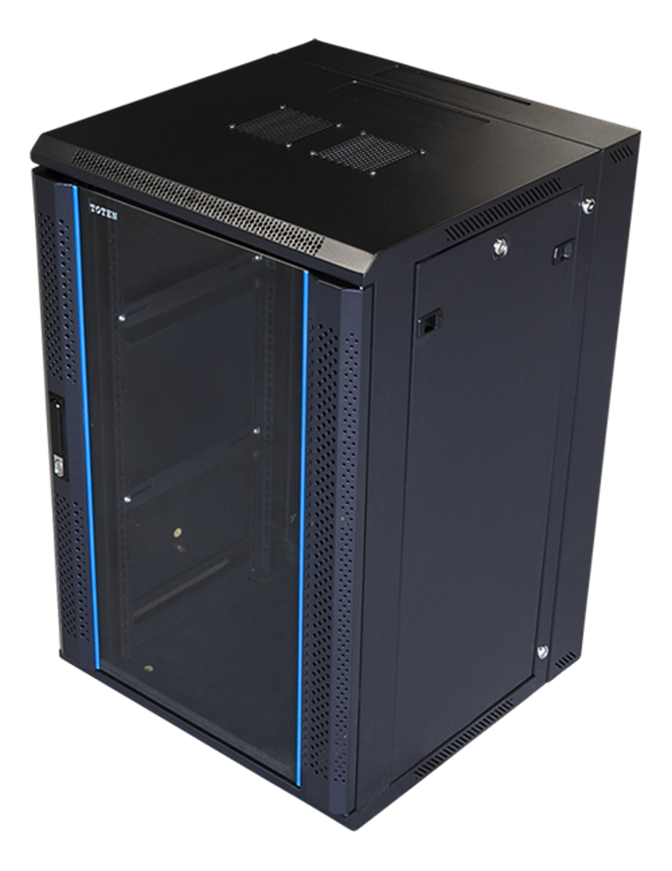 "Toten 19"" Wall Cabinett 18U 600X600 Lockable Glassdoor Black"
