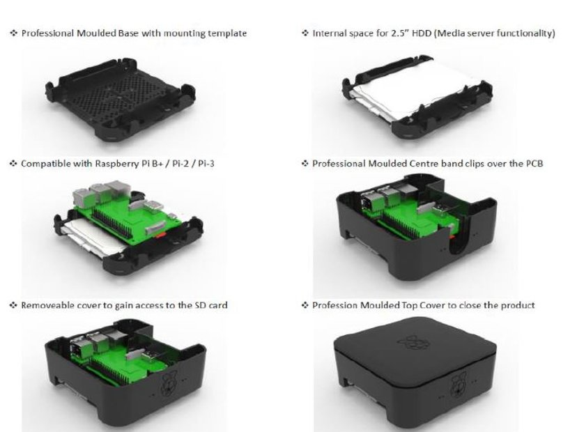 Designspark Quattro Case For Raspberry Pi 3 B+ White