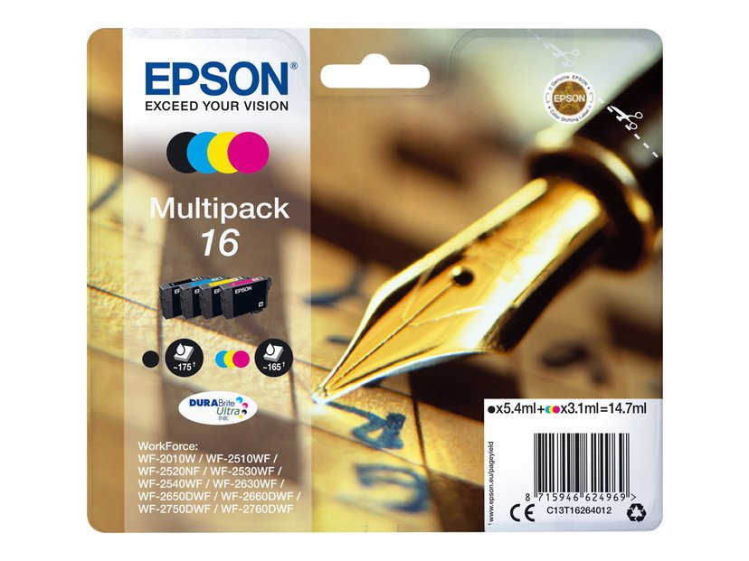 Epson Bläck Multipack T1626 (B/C/M/Y) - WF-2010/2510/2520