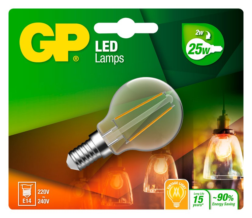 GP LED Filament Mini Globe E14 2W