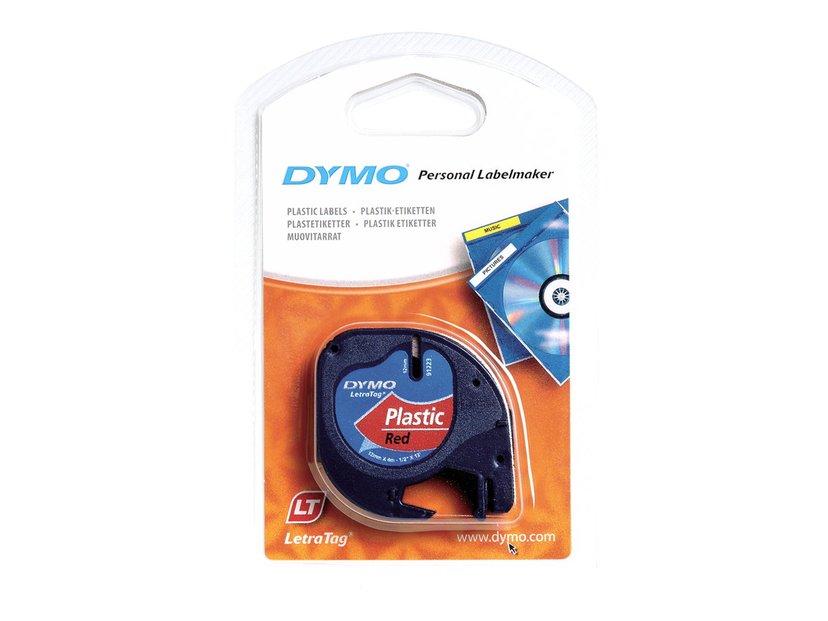 Dymo Tape LetraTAG 12mm Plastic Red
