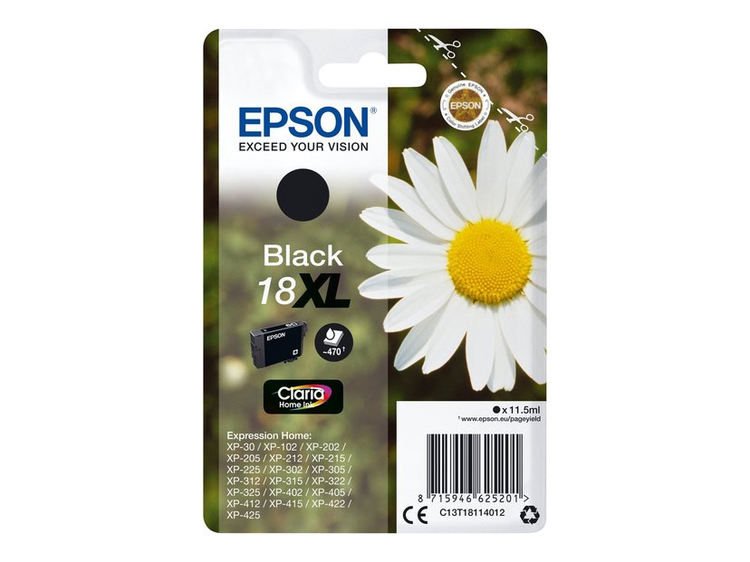 Epson Blekk Svart 18Xl 11,5ml - Xp-302