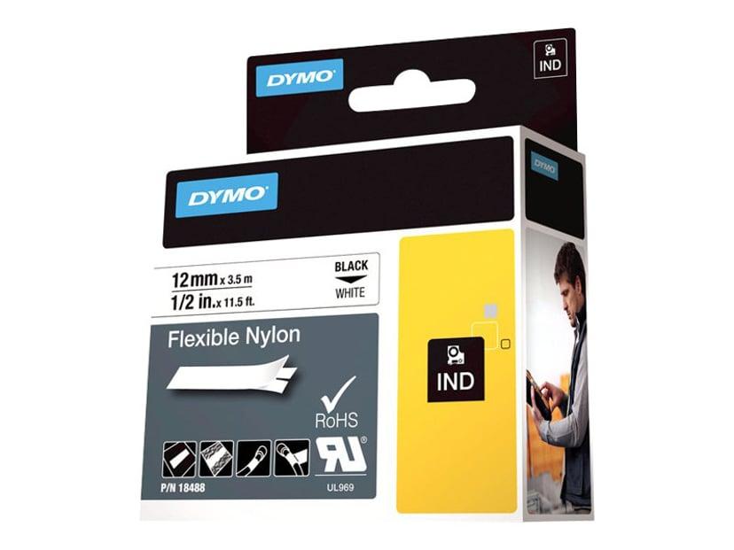 Dymo Tape RhinoPRO Flex Nylon 12mm Svart/Hvit