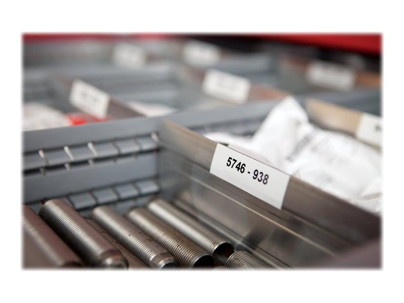 Dymo Tape RhinoPRO Perm Polyester 12mm Sort/Hvid