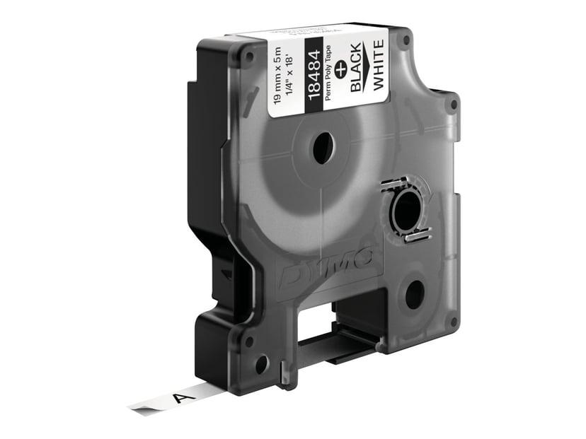 Dymo Tape RhinoPRO Perm Polyester 19mm Svart/Hvit