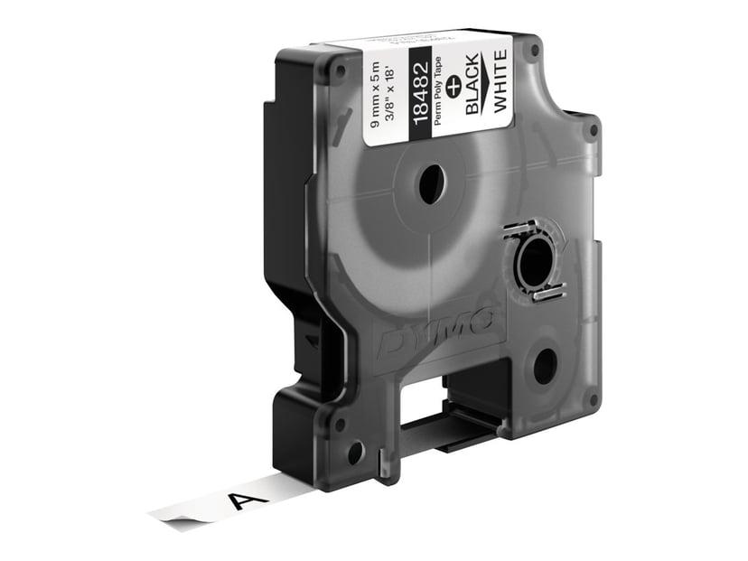 Dymo Tape RhinoPRO Perm Polyester 9mm Sort/Hvid