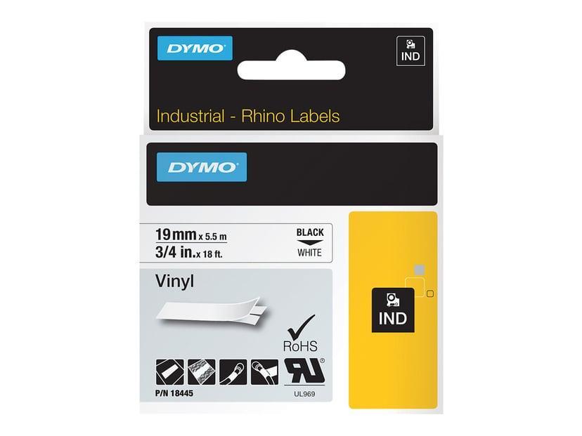 Dymo Tape RhinoPRO Perm Vinyl 19mm Sort/Hvid