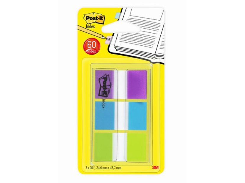 3M Post-It Index 25X43mm Purple/Turquoise/Lime