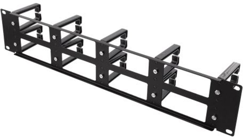 """Deltaco Kabelhållare 2U för rack 19"""""""