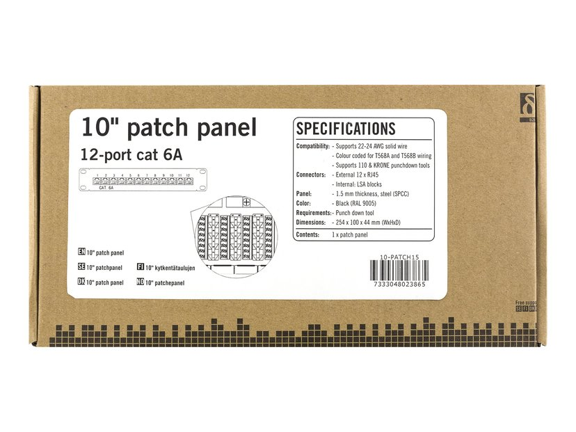 Deltaco Patchpanel 12 portar Shielded twisted pair (STP) CAT 6a