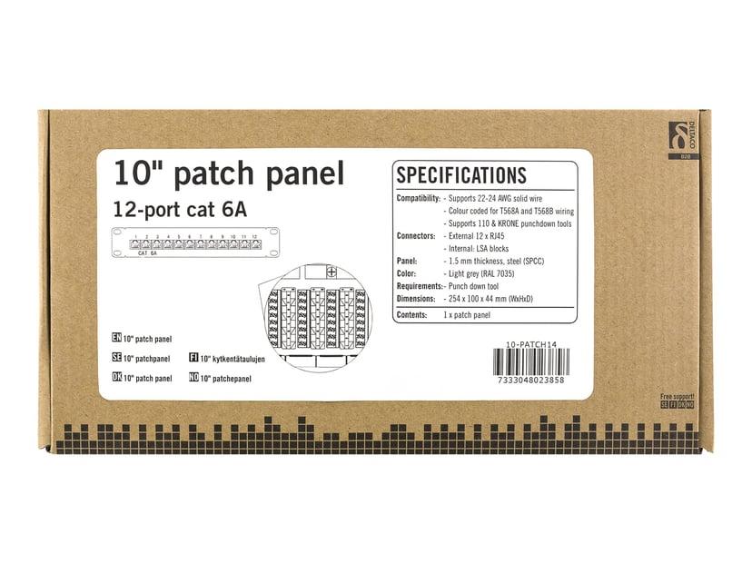 Deltaco Patch Panel 12 porter Skjermet tvunnet parkabel (STP) CAT 6a