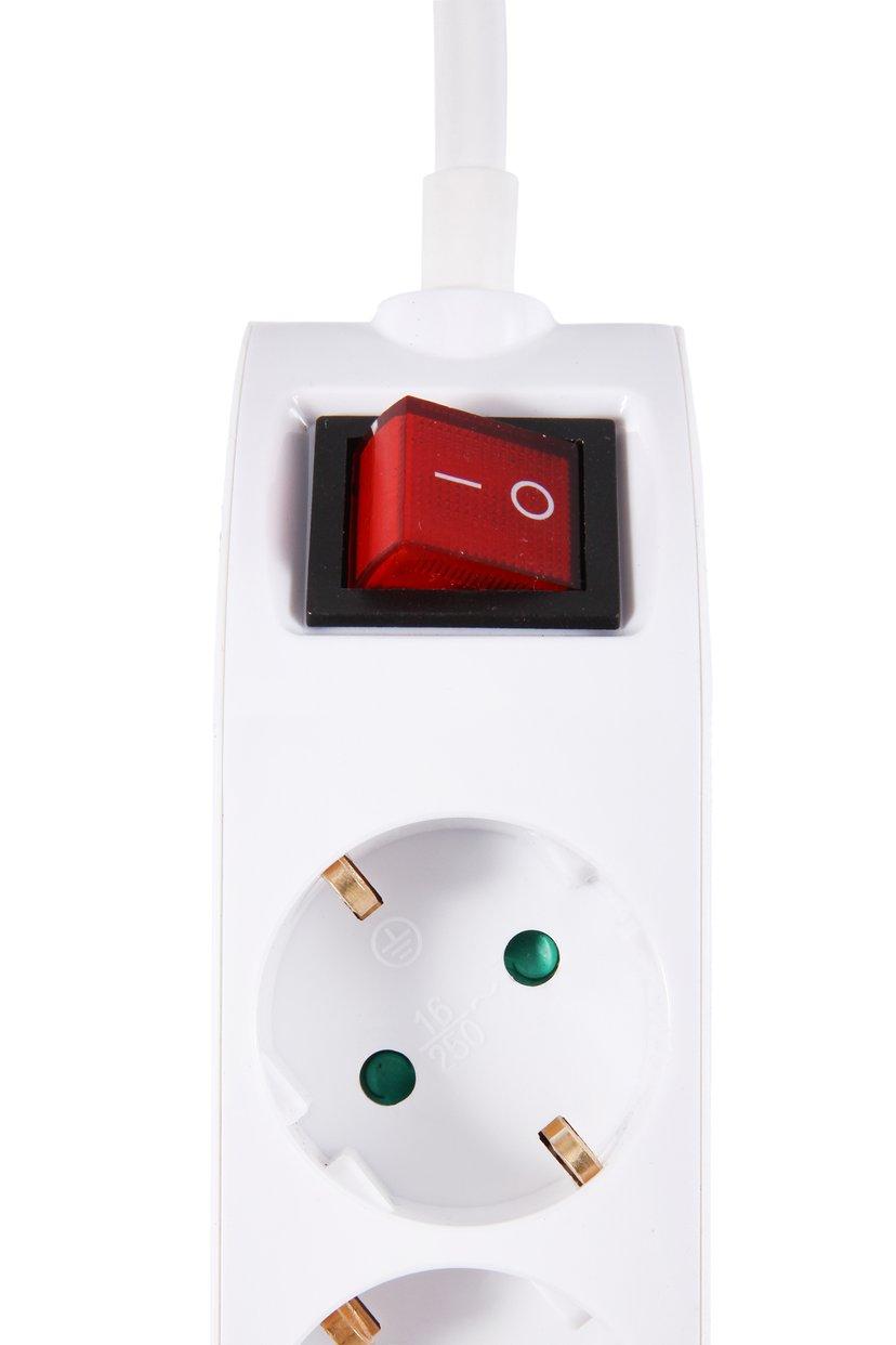Prokord Power Strip 4X Socket 2xUSB 2.1 mAh 5m - White 2 x 4 pin USB Type A, Power CEE 7/4 4kpl