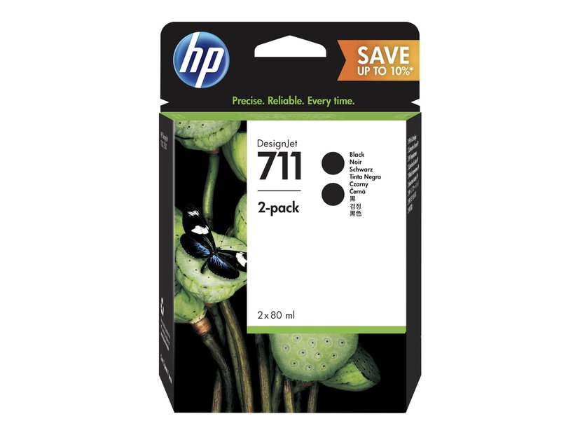 HP Blekk Svart 711 80ml 2-Pack - DJ T120/T520