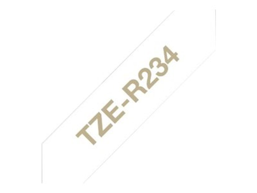 Brother Tape Cloth 12mm TZe-R234 Gold/White