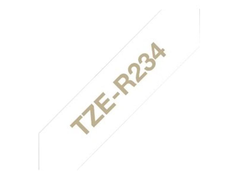 Brother Tape stoffbånd 12mm TZe-R234 Gull/Hvit