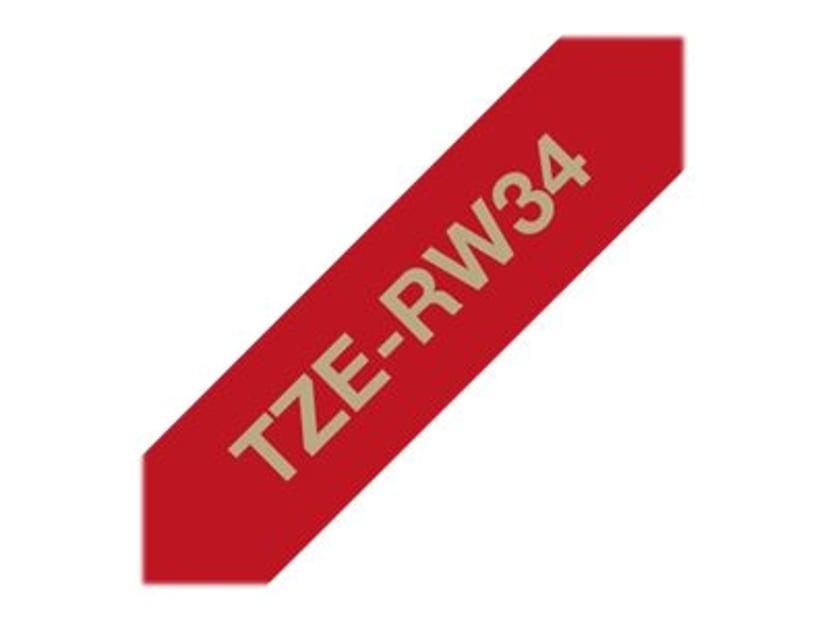 Brother Tape Stofbånd 12mm TZe-RW34 Guld/Vinrød
