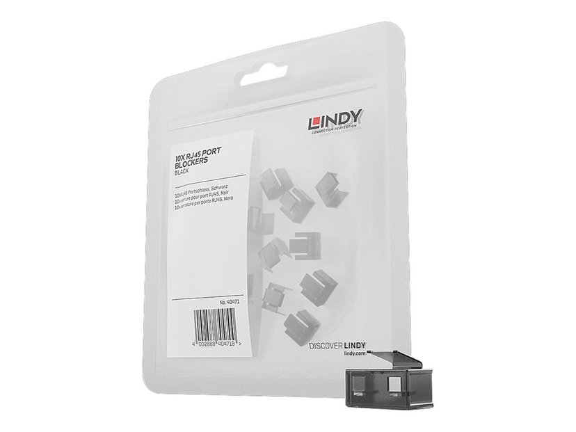 Lindy Port Blocker RJ45 Black 20-Pack Without Key