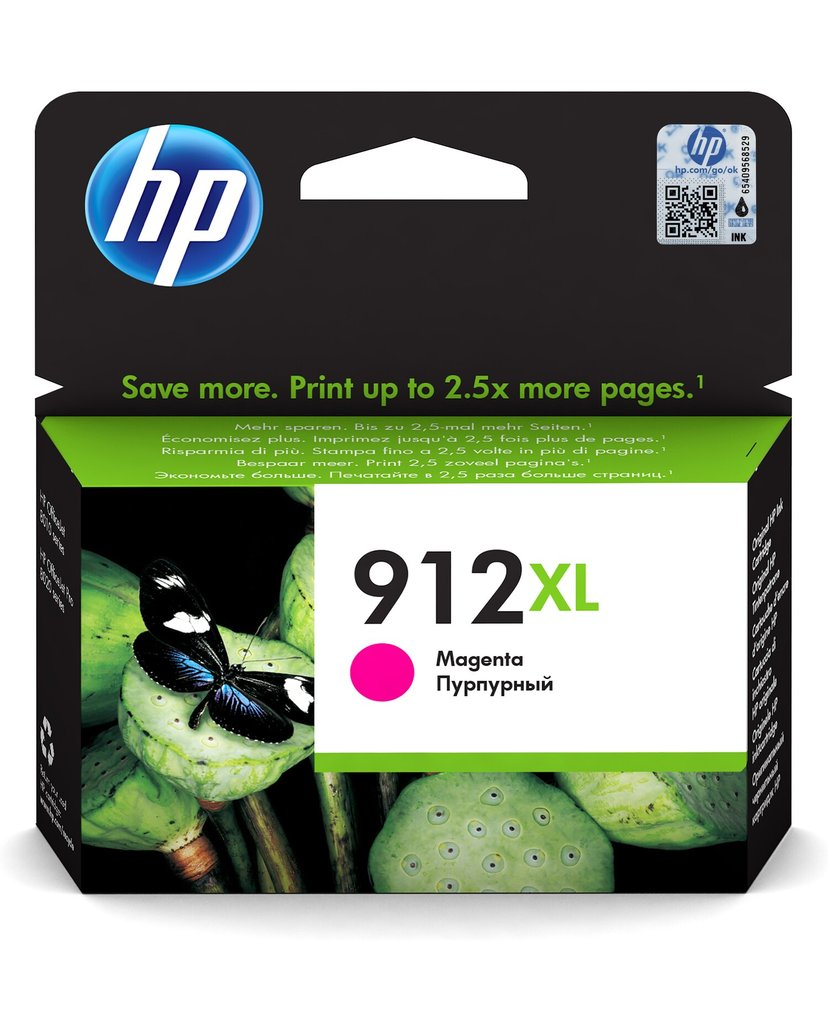 HP Blekk Magenta 912XL 825 Pages - OfficeJet Pro 8022/8024/8025