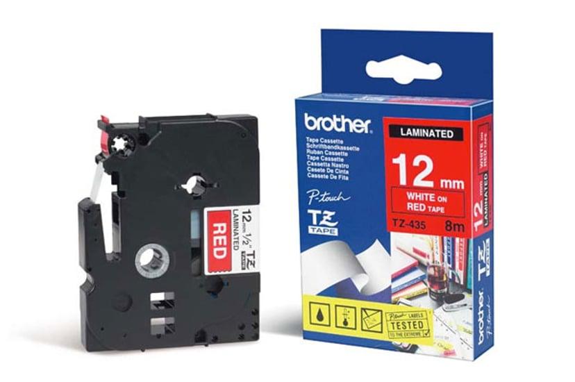 Brother Tape TZE-435 12mm Hvit/Röd