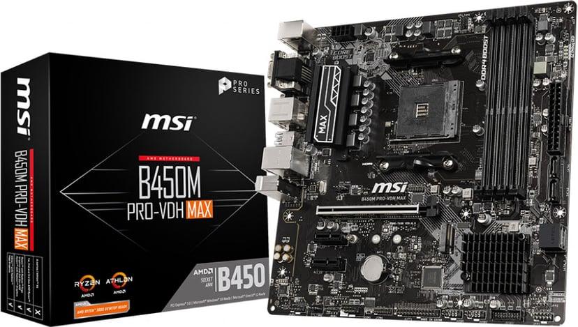 MSI B450M PRO-VDH MAX Micro ATX Moderkort