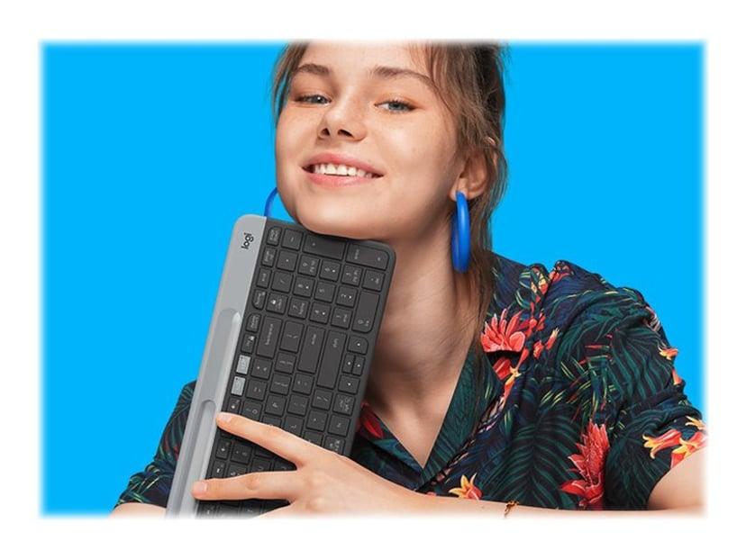 Logitech Slim Multi-Device K580 Trådlös Tangentbord Hela norden Grå