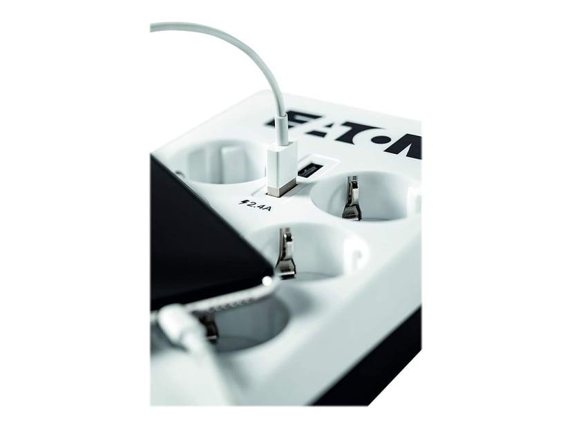 Eaton Protection Box 6 stikkontakt + 2 USB + 1 Tele Ekstern 10A 6st Hvit