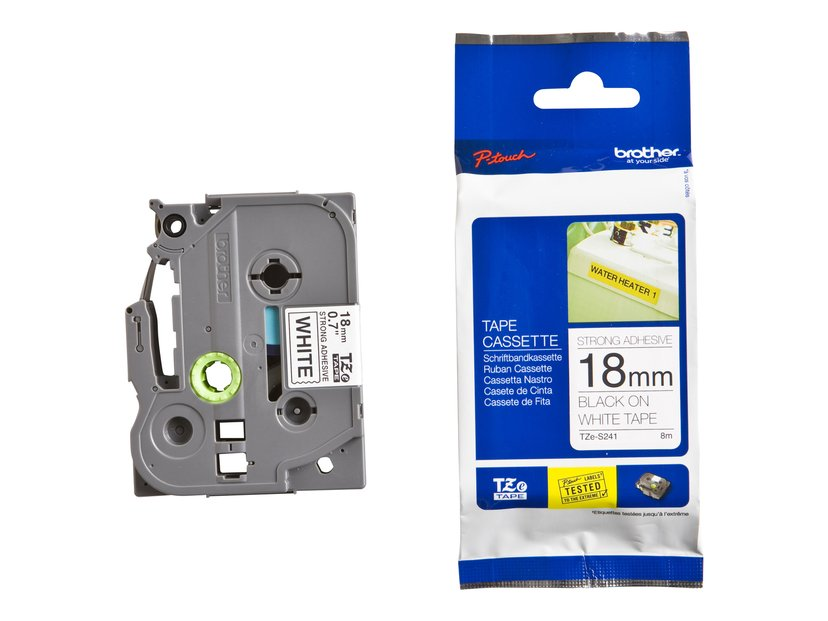Brother Tape TZE-S241 18mm Sort/Hvid Extra Stark