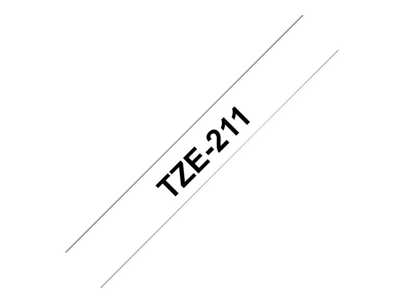Brother Tape TZE-211 6mm Svart/Hvit